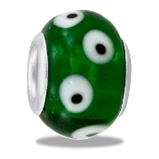 Green, White & Black Dotted Bead