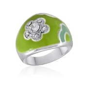 Spring Flower Ring with Crystals