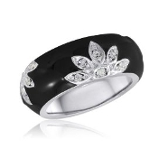 Black Floral Ring with Crystal