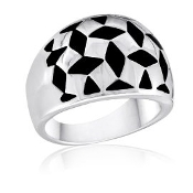 Houndstooth Black and Silver Ring