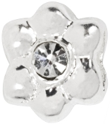 Silver Plated Flower Bead With Austrian Crystal by Amanda Blu