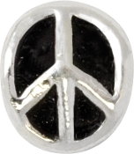 Peace Sign Silver Plated Bead by Amanda Blu