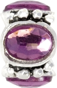 Purple Crystal Silver Plated Bead by Amanda Blu
