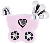Pink Baby Carriage Enamel/Silver Plate Bead by Amanda Blu