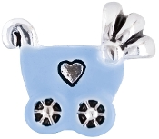 Blue Baby Carriage Enamel/Silver Plate Bead by Amanda Blu