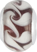 White and Brown Latte Bead by Amanda Blu