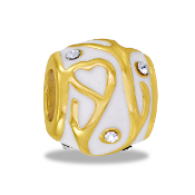 Gold and White Enamel Bead - TRUNK SALE - No Further Discounts