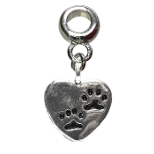 Dangling Pet Paws Heart Bead by Amanda Blu