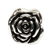 Sculpted Rose Silver Plate Bead by Amanda Blu