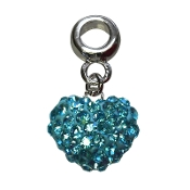 December - Austrian Crystal Double Sided Heart Pave Bead