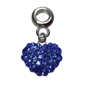 September - Austrian Crystal Double Sided Heart Pave Bead