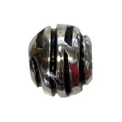 Black Enamel Silver Plated Swirl Bead by Amanda Blu