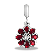 Flower Crystal Bead - Ruby TRUNK SALE, NO FURTHER DISCOUNT
