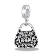 Silver CZ Purse Dangle Bead by DaVinci