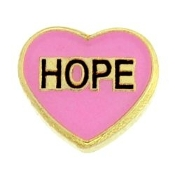 Pink Heart (HOPE) Charm For Lockets