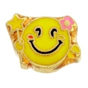 Smiley Face and Flowers Charm For Lockets