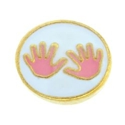 Pink Kids Hands Charm For Lockets - TRUNK SALE NO OTHER DISCOUNT