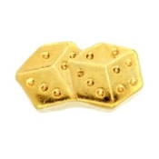 Dice (Gold) Charm For Lockets - TRUNK SALE NO OTHER DISCOUNT