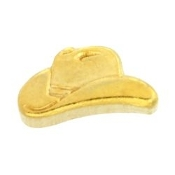 Cowboy Hat Gold Charm For Lockets - TRUNK SALE NO OTHER DISCOUNT