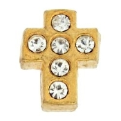 Cross Crystal & Gold Charm For Lockets