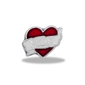 MOM Banner Heart Charm For Lockets