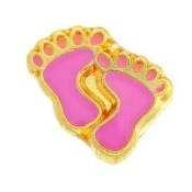 Pink Child's Feet Charm For Lockets