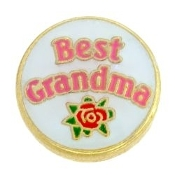 BEST GRANDMA With Flower & Heart Charm For Lockets