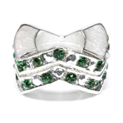 "Emerald (MAY) Chevron ""Stackable"" Czech Crystal & Silver Bead"