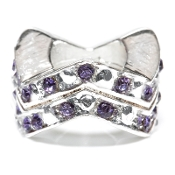 "Alexandrite (JUN)Chevron ""Stackable"" Czech Crystal & Silver Bead"