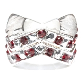 "Ruby (JUL) Chevron ""Stackable"" Czech Crystal & Silver Bead"