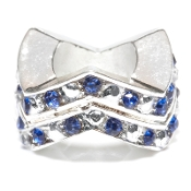 "Sapphire (SEP) Chevron ""Stackable"" Czech Crystal & Silver Bead"