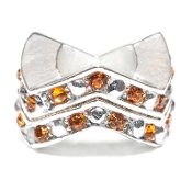"Topaz (NOV) Chevron ""Stackable"" Czech Crystal & Silver Bead"