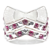 "Fuschia Chevron ""Stackable"" Czech Crystal & Silver Bead"