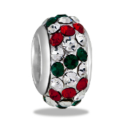 Red/Green/Clear Crystal Slim Pave Bead by DaVinci