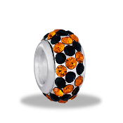 Black and Orange Slim Crystal Pave Bead by DaVinci