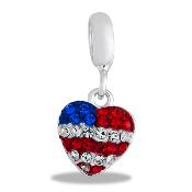 Red, White, and Blue Flag Heart Dangle Bead by DaVinci