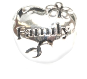 FAMILY Heart Silver Bead By Amanda Blu®