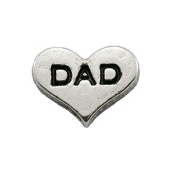 DAD Silver Heart Charm For Lockets
