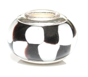 Black and White Checkered Prima Glass Bead by Amanda Blu®