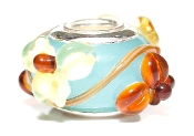 Earthtone Flowers Onlay Prima Glass Bead by Amanda Blu®