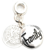 FAMILY Script with Tree Silver Plate Dangle by Amanda Blu®