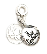 NEW BEGINNINGS w/Flower Silver Plate Dangle by Amanda Blu®