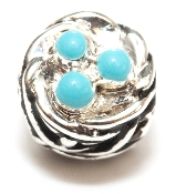 Nest with Eggs Silver Plate Bead by Amanda Blu®