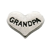 GRANDPA Silver Heart Charm For Lockets