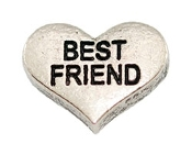 BEST FRIEND Silver Heart Charm For Lockets