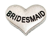 BRIDESMAID Silver Heart Charm For Lockets