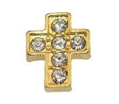 Gold Cross with Crystal Charm for Lockets
