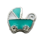Blue Baby Carriage Charm for Lockets