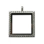 Square Locket with Crystals 25mm - Stainless Steel - For Charms