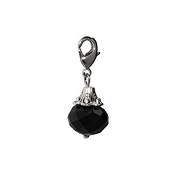 Black Crystal Dangle (Lobster Claw Clip) For Lockets